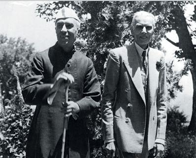 Jinnah with Jawaharlal Nehru at Simla Conference of 1945