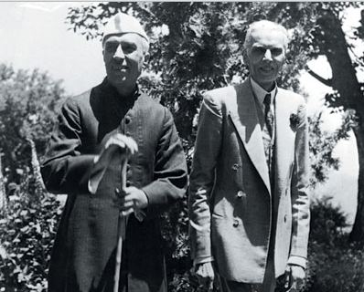 Jinnah with Jawaharlal Nehru at Simla Conference of 1945